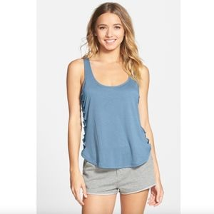 RVCA Blue Slashed Jersey Open Side Tank Top M